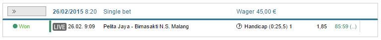Pelita Jaya vs. Bimasakti Malang, Pelita Jaya -25.5, 1.85 with Rivalo, €45