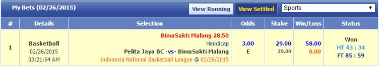 Pelita Jaya vs. Bimasakti Malang, Bimasakti Malang +28.5, 3.00 with SBO, €29