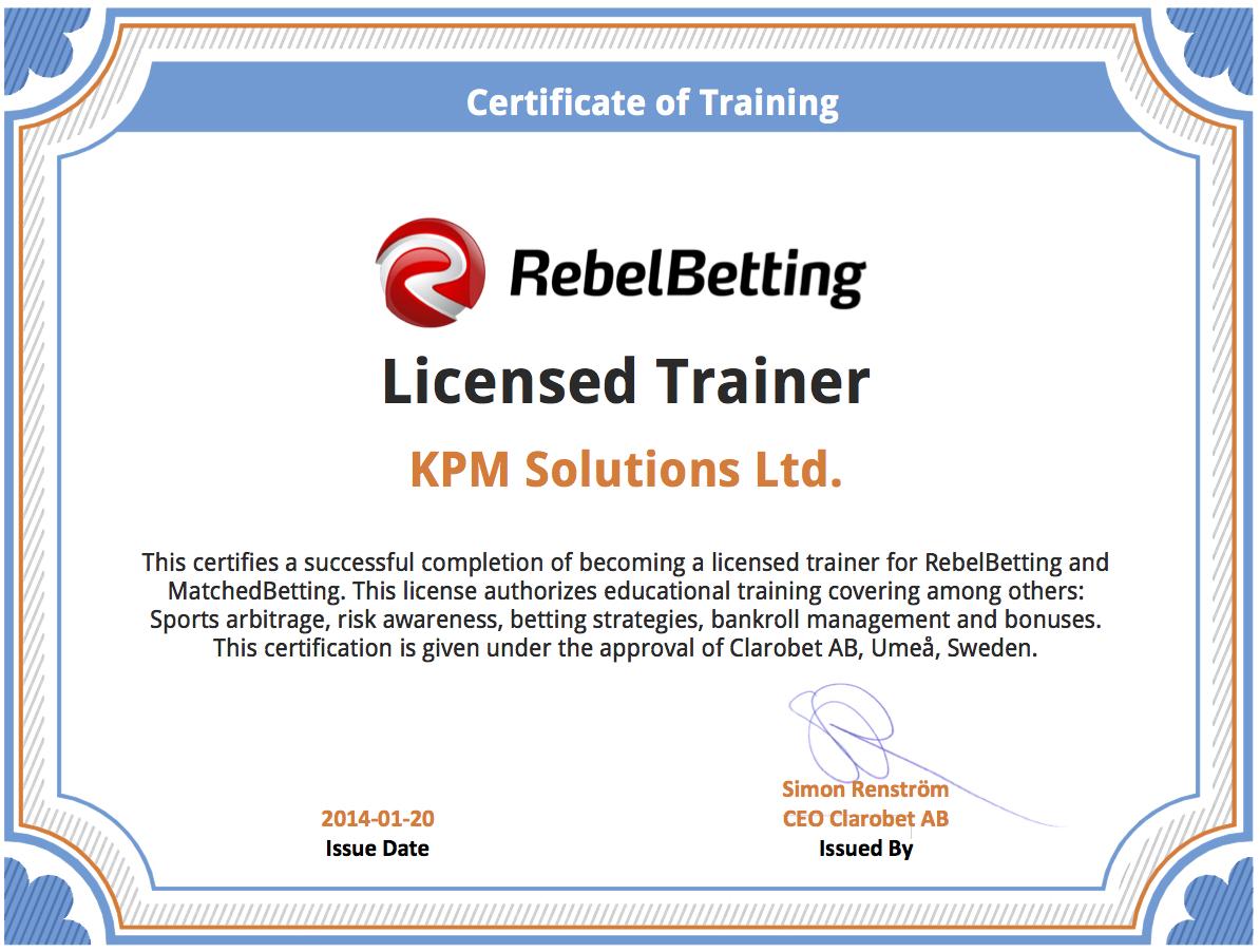 ArbitrageTraining - RebelBetting and MatchedBetting certificate of training